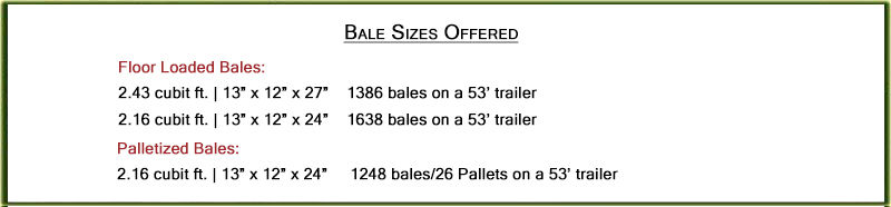 Bale Sizes Offered